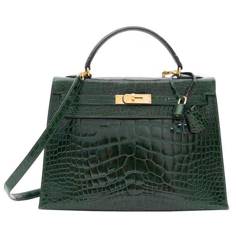 Hermes Kelly Alligator Lisse Vert Emerald  32 1