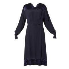 1930s Vintage Navy Blue Crepe Satin Ivy Embroidery Dress