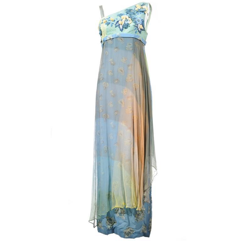 Christian Lacroix 90'S Multi-color Floral Jacquard Printed Evening Dress For Sale