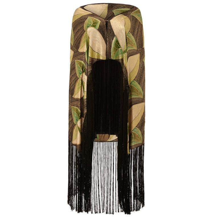 1920s/1930s Lame Scarf with Leaf Motif and Tassels 1