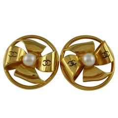 Chanel Vintage Bow and Pearl Earrings