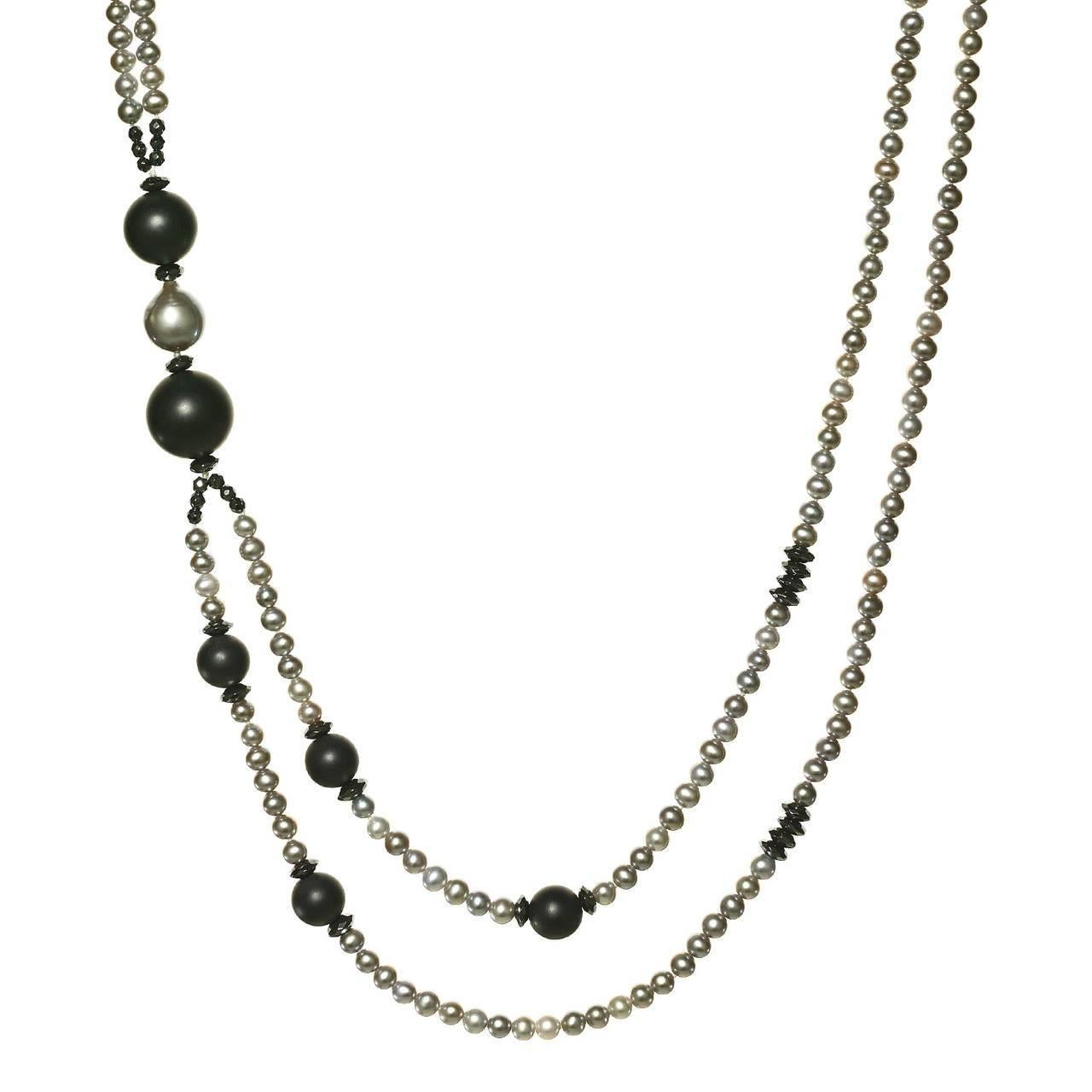 acd0a0ab3c5 Vaid Roma Silver Pearl Onyx Sphere Black Spinel Double Strand Necklace
