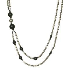 Vaid Roma Silver Pearl Onyx Sphere Black Spinel Double Strand Necklace