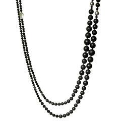 Vaid Roma Satin and Shiny Onyx Gray Pearl Double Strand Necklace