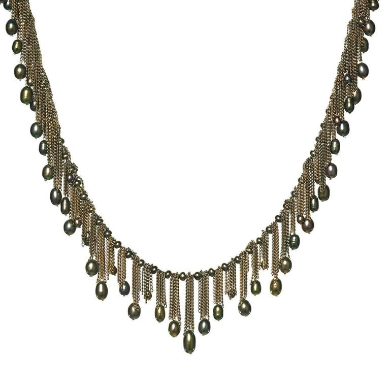 Flowing Fringe Peacock Pearl Multichain 14k Handmade Drop Necklace For Sale