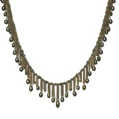 Flowing Fringe Peacock Pearl Multichain 14k Handmade Drop Necklace