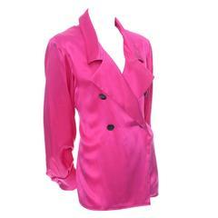 Yves Saint Laurent Pink Silk Vintage Blouse YSL Rive Gauche Top