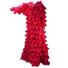 1980s Pierre Cardin Haute Couture Fuschia Ruffled Evening Gown