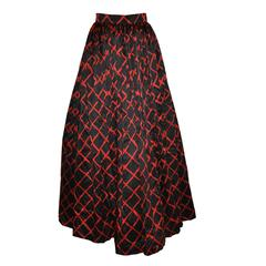 Escada Bold Black & Red Silk Crepe de Chine Maxi Ball Skirt