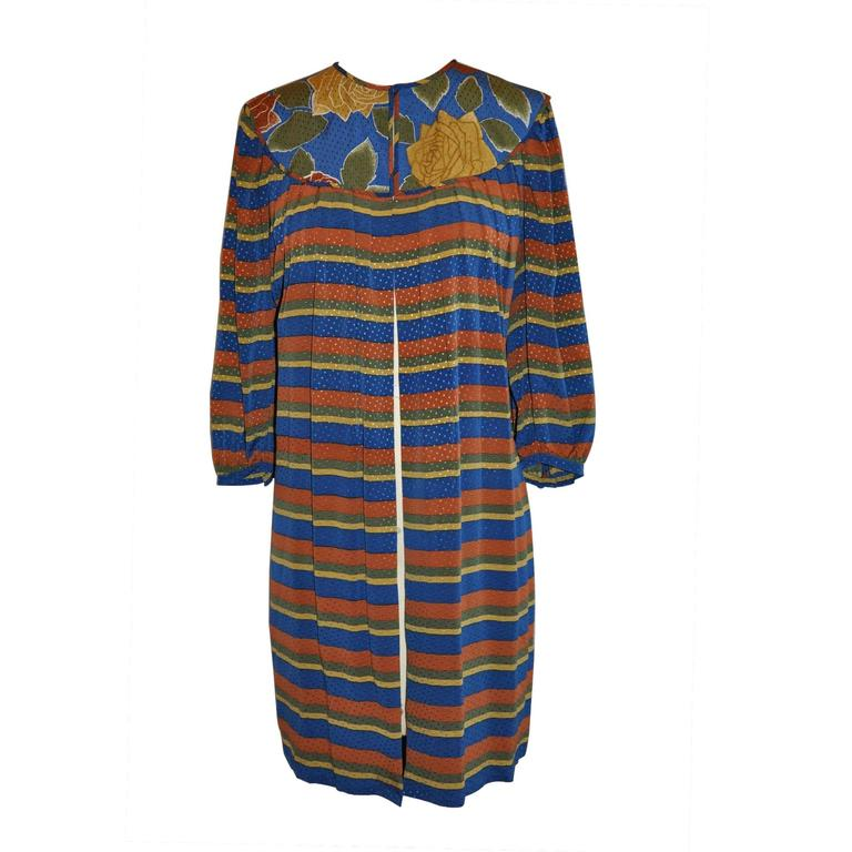 Flora Kung Floral and Stripe Silk Crepe de Chine Tunic with Optional Tie-Belt 1