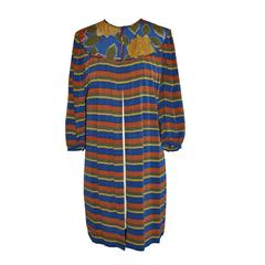 Flora Kung Floral and Stripe Silk Crepe de Chine Tunic with Optional Tie-Belt