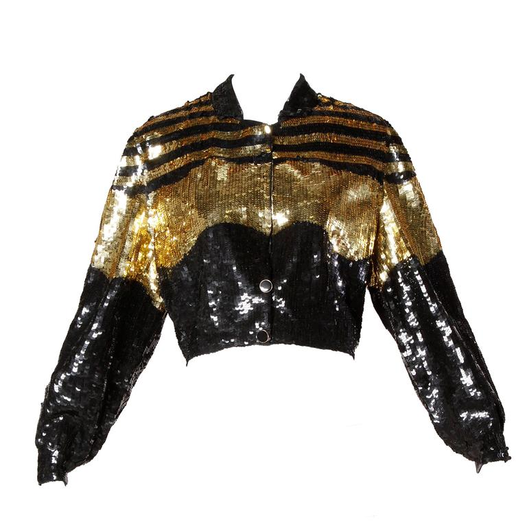 Lillie Rubin Vintage Metallic Gold + Black Sequin Silk Jacket For Sale
