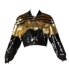 Lillie Rubin Vintage Metallic Gold + Black Sequin Silk Jacket