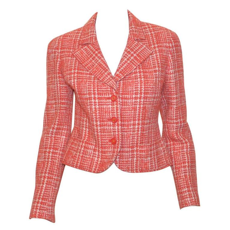 Chanel Red 1997 P Summer Coral Orange Tweed Button Blazer Jacket 1