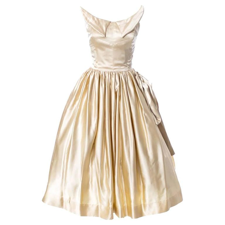1950s Vintage Dress Champagne Satin Winged Bust Wedding Peg Powers Original 1