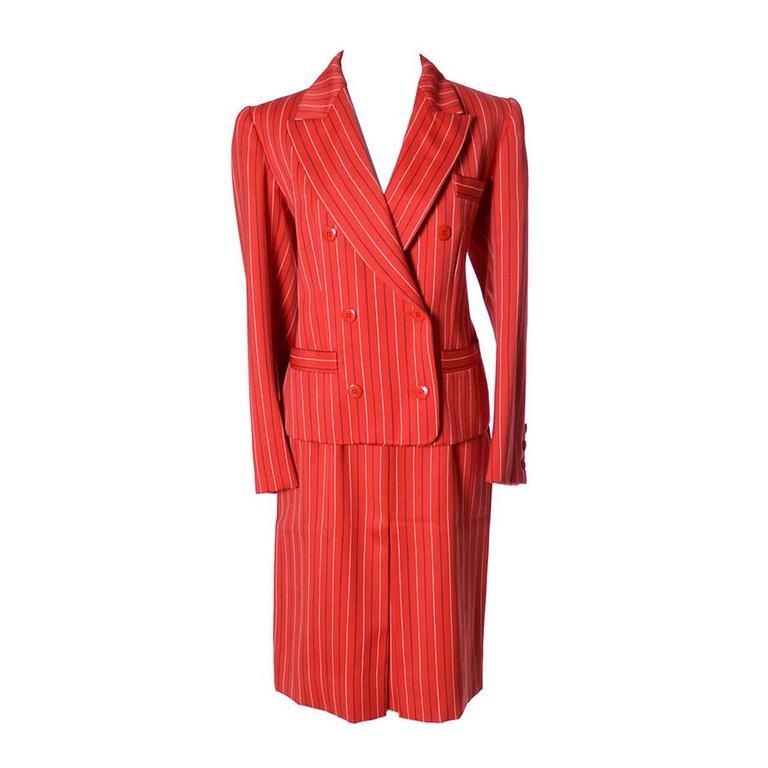 Yves Saint Laurent Rive Gauche YSL Vintage Red Pinstripe Skirt Jacket Suit