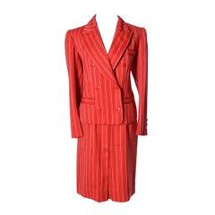 Yves Saint Laurent Rive Gauche YSL Vintage Red Pinstripe Skirt & Jacket Suit