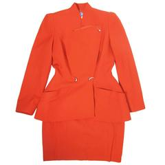 1980s Thierry Mugler Red Skirt Suit with Comma Snaps