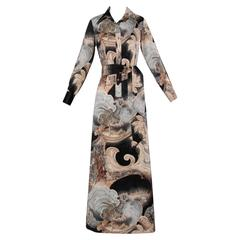 Lanvin 1970s Asian Print Maxi Dress + Sash