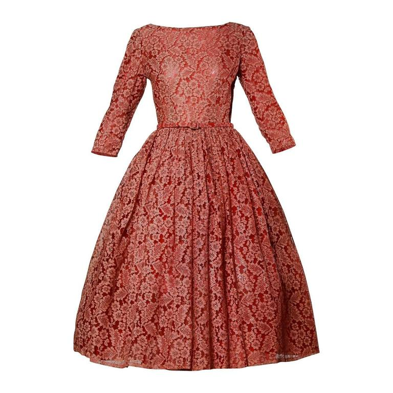 1950s Vintage Red Lace Cocktail Dress with Belt 1