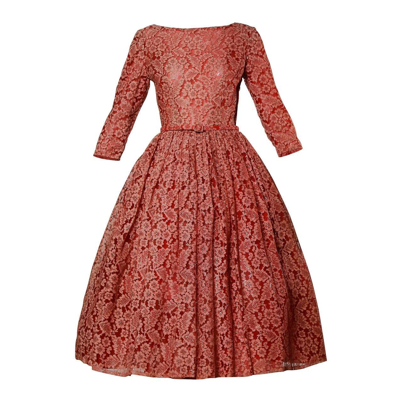 1950s vintage red lace cocktail dress with belt at 1stdibs
