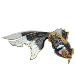 """Large Japanese Gold with Multi-Color Enamel Accent """"Fish"""" Pendant"""