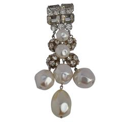 Huge Impressive Silver with Multi-Rhinestones and Pearls Brooch