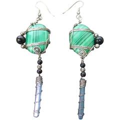 Sterling Malachite Crystal Artisan Earrings c 1990