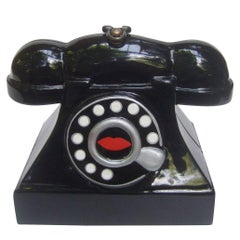 Timmy Woods Bevery Hills Whimsical Black Enamel Telephone Handbag