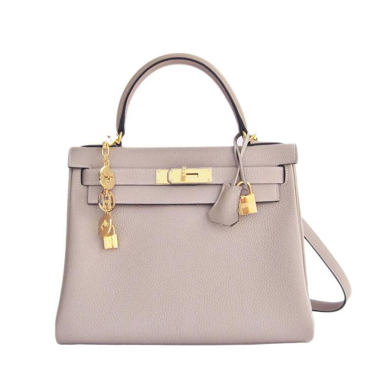 Hermes Gris Tourterelle 28cm Togo Kelly Gold GHW Shoulder Bag Perfection 1