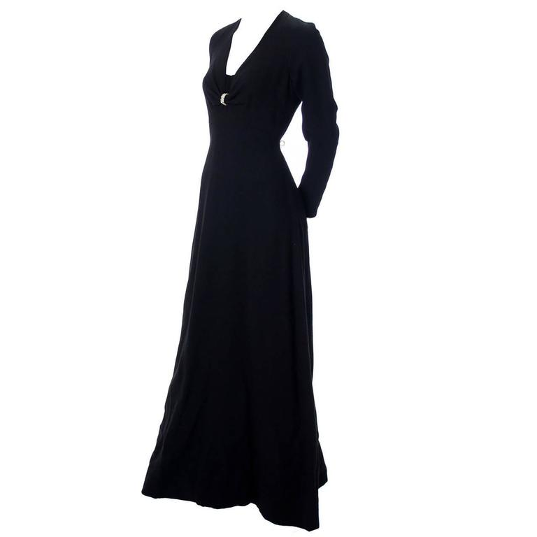 Black Wool Crepe Nina Ricci Boutique 1970s Vintage Maxi Dress With Rhinestones