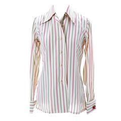 Early Striped Valentino Vintage Silk Blouse Stripes Valentino Cherry Cufflinks