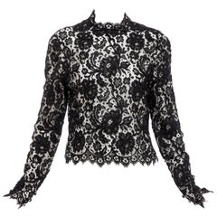 Bill Blass Black Lace Top, Circa: 1970's
