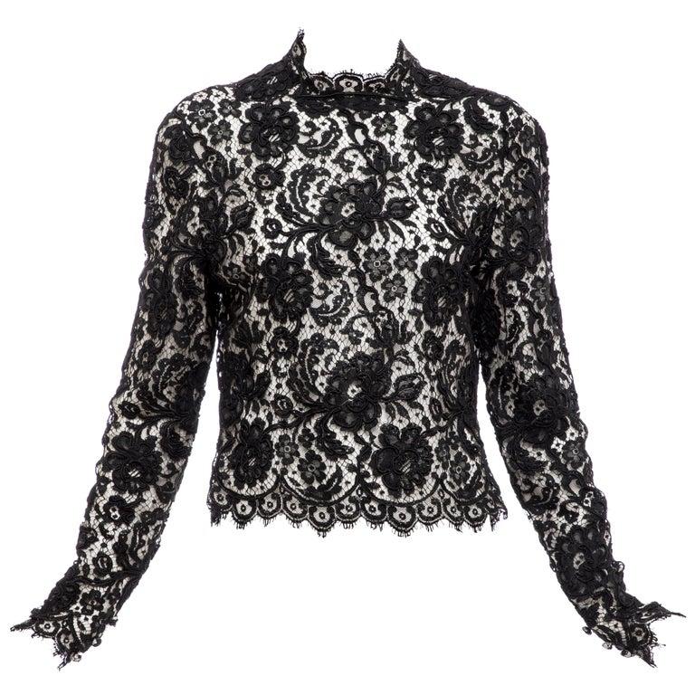 Bill Blass Black Lace Top, Circa: 1970's For Sale