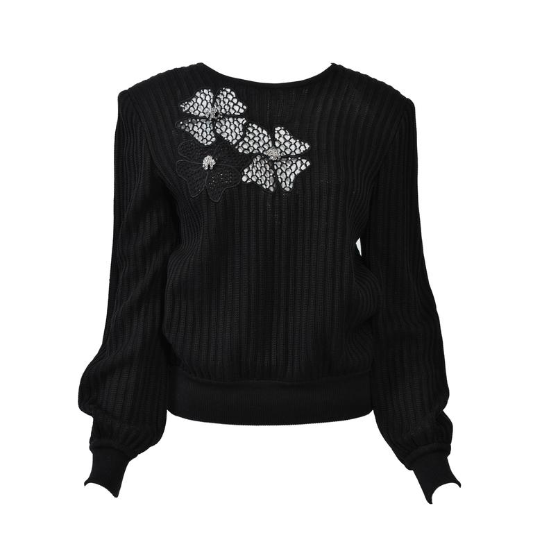 Valentino Black Sweater w/Flower Motif 1