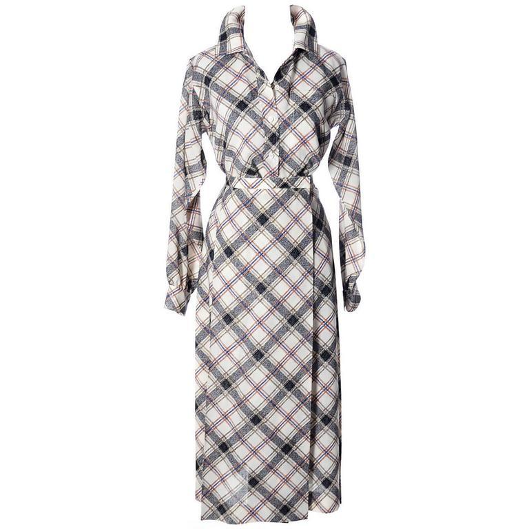 1970s YSL Vintage Yves Saint Laurent Rive Gauche 2 pc Dress Wrap Skirt & Blouse For Sale