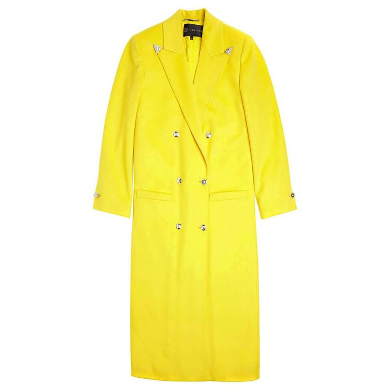 Versace Long Wool Cashmere Coat In Yellow