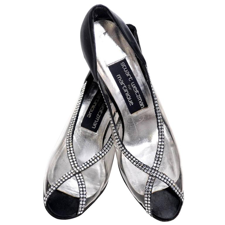 Stuart Weitzman Size 7 New Vintage Black Satin Shoes With Crystals & Rhinestones