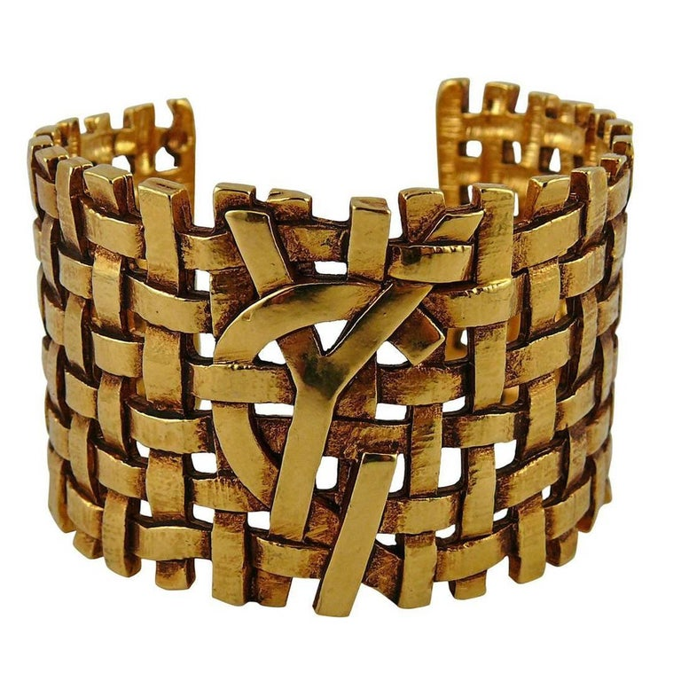 1cf761a3a9fb Yves Saint Laurent YSL Vintage Gold Toned Woven Cuff Bracelet For Sale
