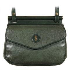 SORELLE FONTANA Vintage Green OSTRICH SKIN Leather SHOULDER BAG