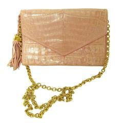 Chanel Pink Crocodile Mini Handbag Pre 1984