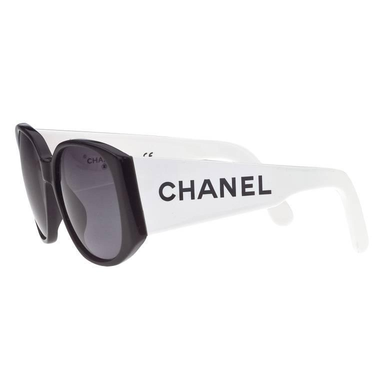 Chanel Black and White Logo Sunglasses 1