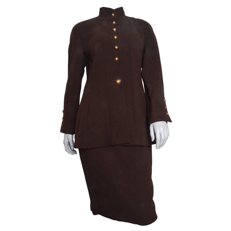 Chanel Brown Wool Crepe Suit