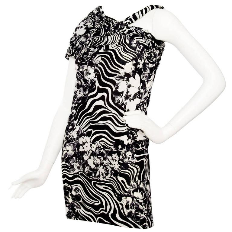 1980s Gianni Versace Monochrome Silk Dress 1