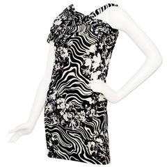 1980s Gianni Versace Monochrome Silk Dress