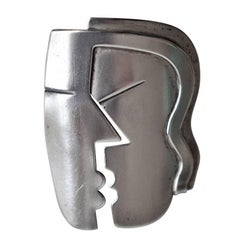 "1940s Modernist Sterling Silver ""Kiss"" Pin by Rebajes"