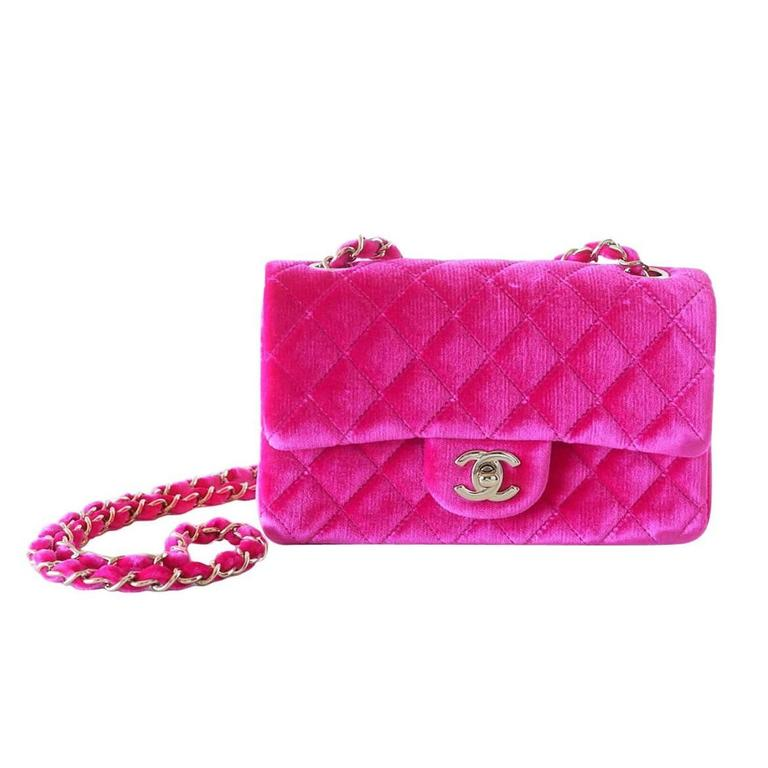 Chanel Bag Mini Rectangular Velvet Fuchsia Pink Gold