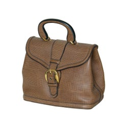 Large Leather Handbag with Printed Plaid Pattern and Locking Buckle Clasp