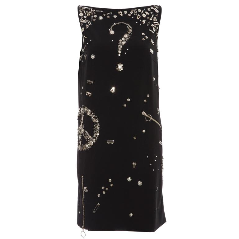 Moschino Couture Black Sleeveless Embellished Dress, Circa 1990's