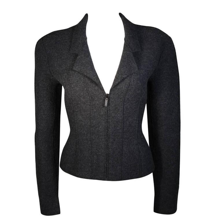 Chanel Grey Boiled Wool Zipper Front Jacket Size 38 For Sale